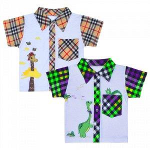 Рубашка Материал: кулирное полотно; Модель: с коротким рукавом; Состав: 100% хлопок; Принт: есть Рубашка на кнопках, выполнена из легкого трикотажного полотна, с нанесением коллекционного принта. Расц