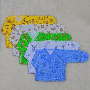 Распашонка Цвет: Микс; Материал: интерлок; Модель: с универсальным рукавом; Состав: 100% хлопок Описание Распашонка с универсальным рукавом, сбоку с двух сторон кнопки, выполнена из трикотажного полот