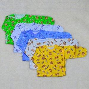 Распашонка Цвет: Микс; Материал: интерлок; Модель: с универсальным рукавом; Состав: 100% хлопок Описание Распашонка с универсальным рукавом, сбоку с двух сторон кнопки и кнопка на плече, выполнена из