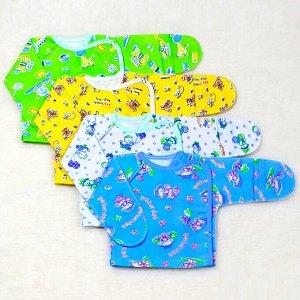 Распашонка Цвет: Микс; Материал: футер; Модель: с универсальным рукавом; Состав: 100% хлопок Описание Распашонка с универсальным рукавом, сбоку с двух сторон кнопки и кнопка на плече, выполнена из теп