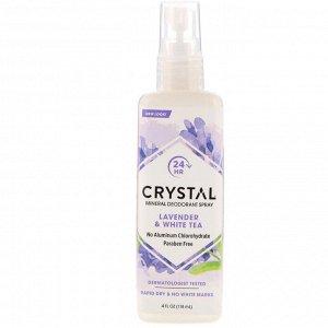 Crystal Body Deodorant, Минеральный дезодорант-спрей с лавандой и белым чаем, 118 мл (4 жидких унции)