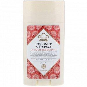 Nubian Heritage, Природный дезодорант, действующий 24 часа, кокос и папайя с добавлением ванильного масла, 2,25 унции (64 г)