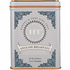 Harney & Sons, Английский завтрак, 20 чайных пакетиков, 1.4 унций (40 г)