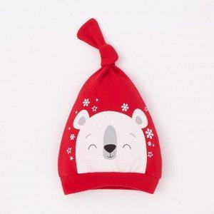 """Чепчик (шапочка) Крошка Я """"Новогодний медвежонок"""", красный, р.46"""