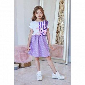 """Платье  KAFTAN """"Ballerina"""" р.30 (98-104), фиолетовый, белый"""