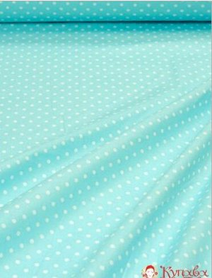 Бязь Горох на светло-голубой бирюзе , хлопок-100%, ширина- 1.5м ГОСТ, 142 гр/м.кв.
