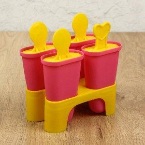 Форма для мороженого «Кьют», 10?6?13 см, 4 ячейки, цвет МИКС