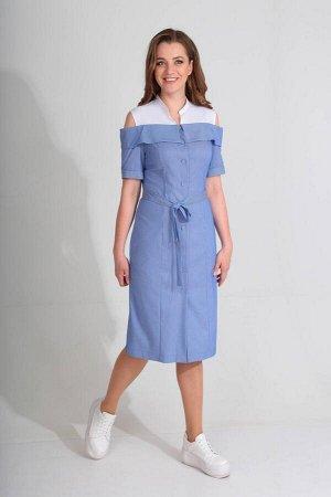 Платье Платье Golden Valley 4574  Состав ткани: Вискоза-53%; ПЭ-42%; Спандекс-5%;  Рост: 170 см.  Платье с центральной застежкой на петли и пуговицы. Верхняя часть платья: кокетка- манишка с отрезной