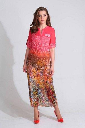 Платье Платье Golden Valley 4587  Рост: 170 см.  Платье с втачной планкой по центру переда, отрезным воротником- стойкой. На уровне линии груди расположены клапаны. Платье отрезное по линии талии. Шо