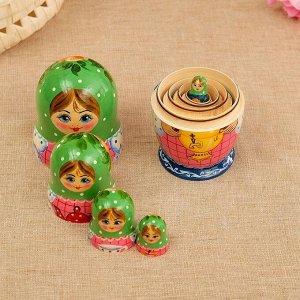 Матрёшка «Самовар», зелёный платок, 5 кукольная, 17 см