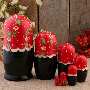 Матрёшка «Полянка»,  красный платок, 7 кукольная, 22 см