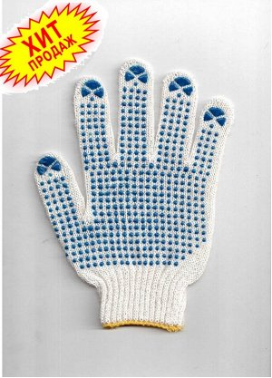 Перчатки Перчатки рабочие  7 класс с ПВХ ТОЧКА ЭКОНОМ   28-30 гр.