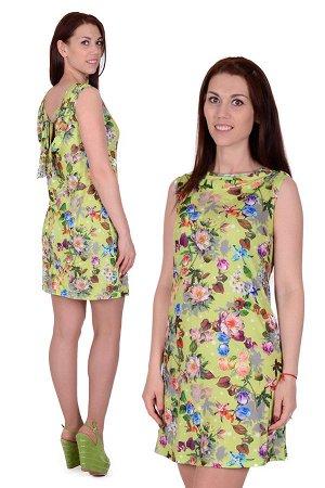 Платье П 406/1 (салатовый с принтом)