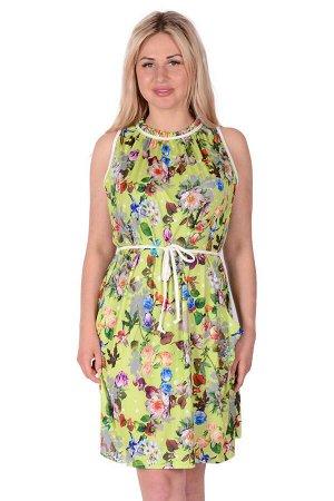 Платье П 700 (салатовый с принтом)