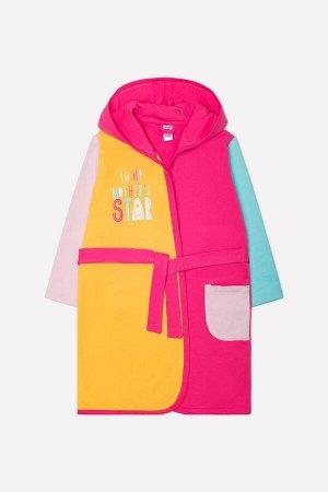 Халат для девочки Crockid К 5521 розовый, желтая мимоза