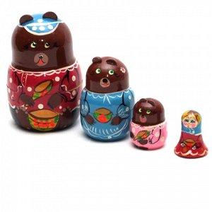 """Матрешка """"Три медведя"""" 4 перс. арт.Р45/751 (РНИ) /52"""