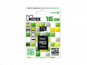 Карта памяти MicroSDHC MIREX 16GB cl10 + SD, 13613-AD10SD16 recommended