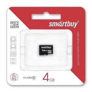 Карта памяти MicroSDHC SmartBuy 4GB cl10, SB4GBSDCL10-00