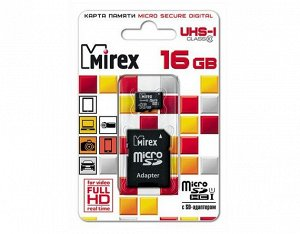Карта памяти MicroSDHC MIREX 16GB cl10 UHS-I + SD, 13613-ADSUHS16 recommended