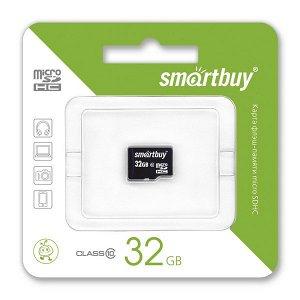 Карта памяти MicroSDHC SmartBuy 32GB cl10, SB32GBSDCL10-00LE