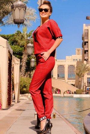 Красный летний костюм Натали, лен