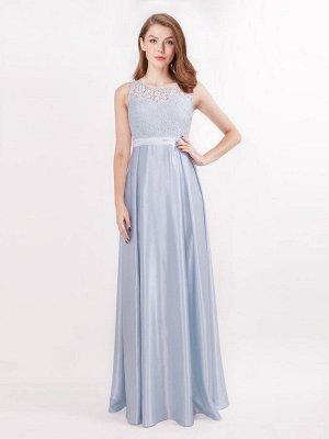 Голубое вечернее атласное длинное платье с кружевным топом