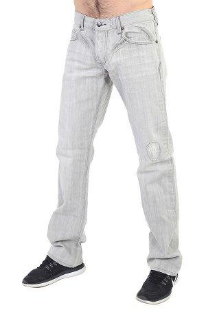 Светло-серые мужские джинсы с имитацией заплатки – после стирки не линяют, не дают усадку №267
