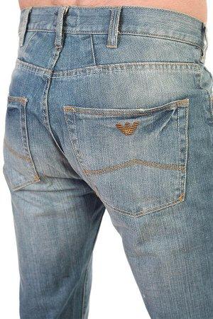 Голубые мужские джинсы с имитацией потёртого денима – врывайся в клубный движ и модные тусовки №247