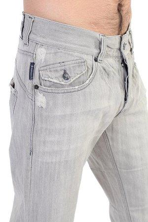 Фактурные мужские джинсы с декоративной заплаткой – модный фасон «трубы» №205