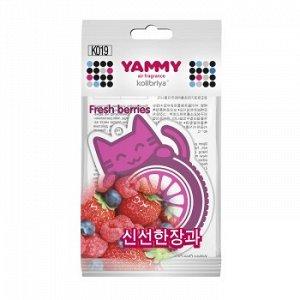 """Ароматизатор подвес. """"Yammy"""" картон с пропиткой Котик """"Fresh Berries"""""""