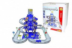 Паркинг 4-уровневый с дорогой и автомобилями, синий (в коробке)
