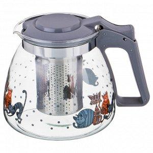 """Заварочный чайник agness с фильтром """"коты"""" 900 мл. (кор=36шт.)"""