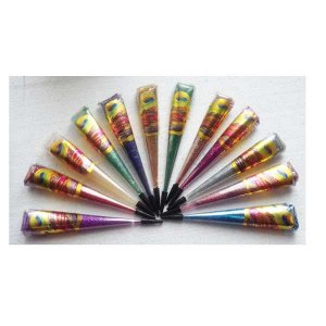 Хна в конусе Golecha 25 г. разноцветная с блестками