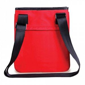"""Сумка-мини на ремне BRAUBERG """"Palermo"""", для повседневной переноски личных вещей, 27х23 см, ткань, красная, 240503"""