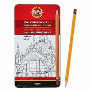 Набор карандашей чернографитных разной твердости 12 штук Koh-i-Noor 1502/III, 5B-5H, в металлическом пенале