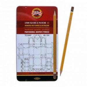Набор карандашей чернографитных разной твердости 12 штук Koh-i-Noor 1500, HB-10H, в металлическом пенале