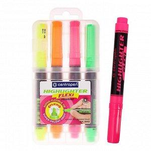 Набор маркеров-текстовыделителей Centropen Flexi 8542, 4 цвета, 1-5.0 мм, пластиковый футляр с европодвесом
