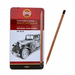 Набор карандашей чернографитных разной твердости 12 штук Koh-i-Noor 1512N ART, 8B-2H, в металлическом пенале