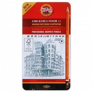 Набор карандашей чернографитных разной твердости 12 штук Koh-i-Noor 1580, 6В-6Н, в металлическом пенале