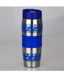 Термокружка Alpenkok AK-04023A ОЛЕНИ синие 400 мл, нерж, вакуумная (24)