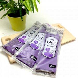 Перчатки из натурального латекса  с внутренним покрытием (укороченные, с крючками для сушки), фиолетовые,  L