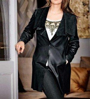 Кожаное пальто, черное