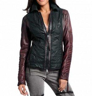 Кожаная куртка, черно-бордовая