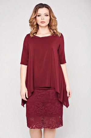 Платье Женственный комплект для торжественных случаев. Платье прилегающего силуэта, без рукава. Верхняя часть платья - шифон, нижняя - кружевное полотно. Спинка со средним швом и разрезом. Блуза свобо