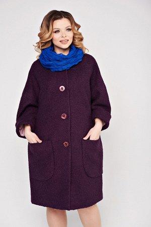 """Пальто Шикарное пальтоиз ткани """"букле"""" с уникальным составом: 60% ангора, 35% п/э, 5% эластан. Пальто свободного силуэта, на подкладе, без воротника, со спущенным плечом и большими накладными карман"""