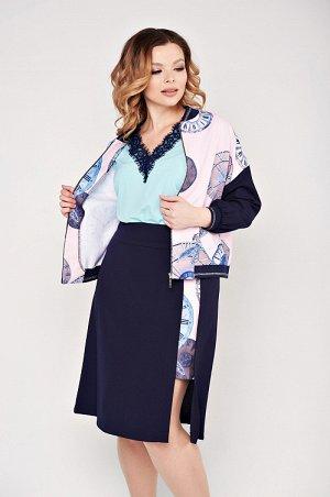 Костюм Костюм женский из костюмной ткани,состоящий из бомбера и юбки. Бомбер прямого силуэта,со спущенным плечом и центральной застежкой по переду изделия. Спинка и перед выполнены из костюмной ткани