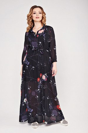 """Платье Платье из легкого прозрачного шифона. Платье длины """"maxi"""", с втачным рукавом и отрезной юбкой. Перед платья с декоративными вертикальными настрочками, планкой, которая застегивается на петли и"""