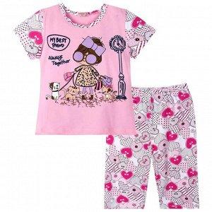 Пижама ЦВЕТ: розовый,  Замеры модели* * рост указан приблизительно, ориентируйтесь на замеры *Размер 92(рост 86-92см)дл футболки 33 см,шир 26 см,дл бридж 39 см,шир 20 см. *Размер 98(рост 92-98см)дл