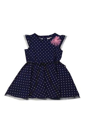 Платье (98-122см) UD 4134(1)синий горошек
