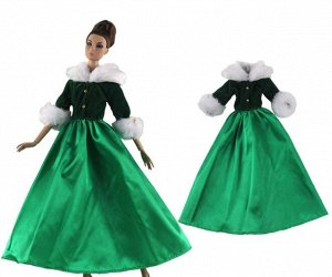 Платье зеленое с меховой опушкой